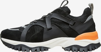 SELECTED HOMME Sneakers in grau / orange / schwarz: Frontalansicht