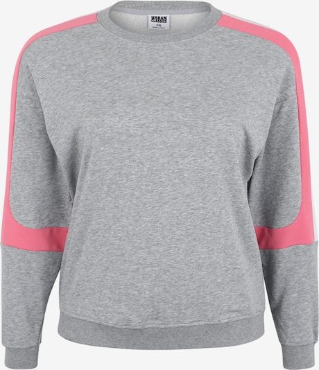 Urban Classics Curvy Sweatshirt 'Ladies Panel Terry Crewneck' in grau / pink / weiß: Frontalansicht