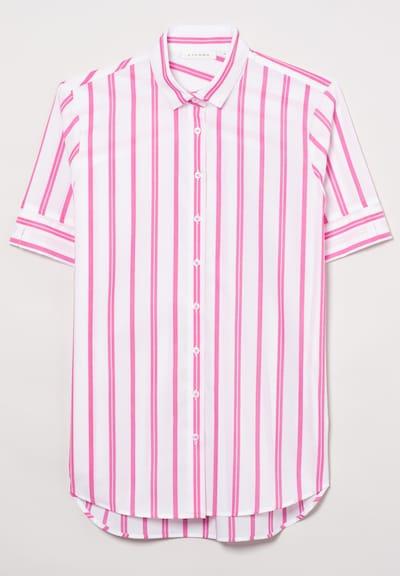 ETERNA Kurzarm Bluse MODERN CLASSIC in pink / weiß, Produktansicht