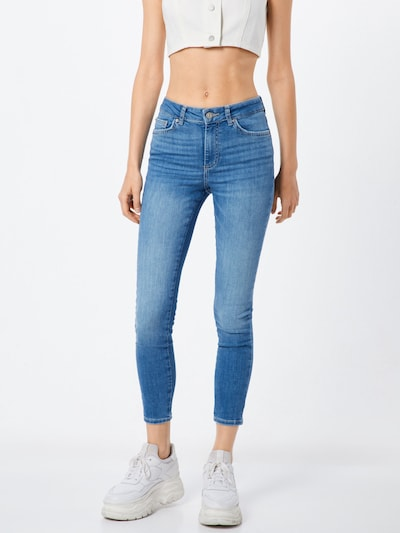 PIECES Jeans 'PCDELLY SKN MW CR LB124-BA/NOOS' in blue denim: Frontalansicht