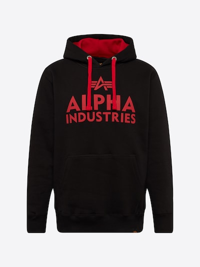 ALPHA INDUSTRIES Sweatshirt in rot / schwarz: Frontalansicht