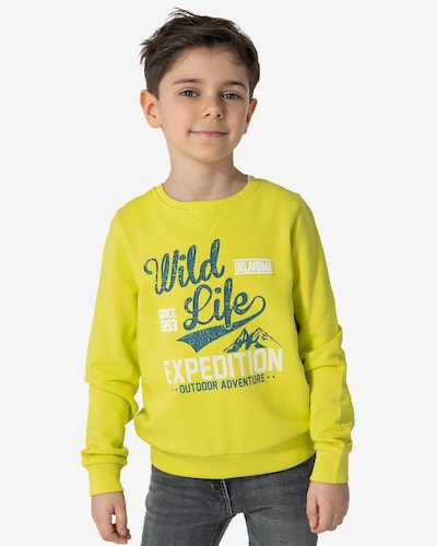 myToys-COLLECTION Sweatshirt 'Oklahoma' in limone / tanne / weiß: Frontalansicht