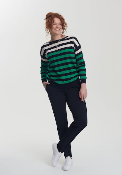 Long Tall Sally Pullover für große Frauen in blau / grasgrün, Modelansicht