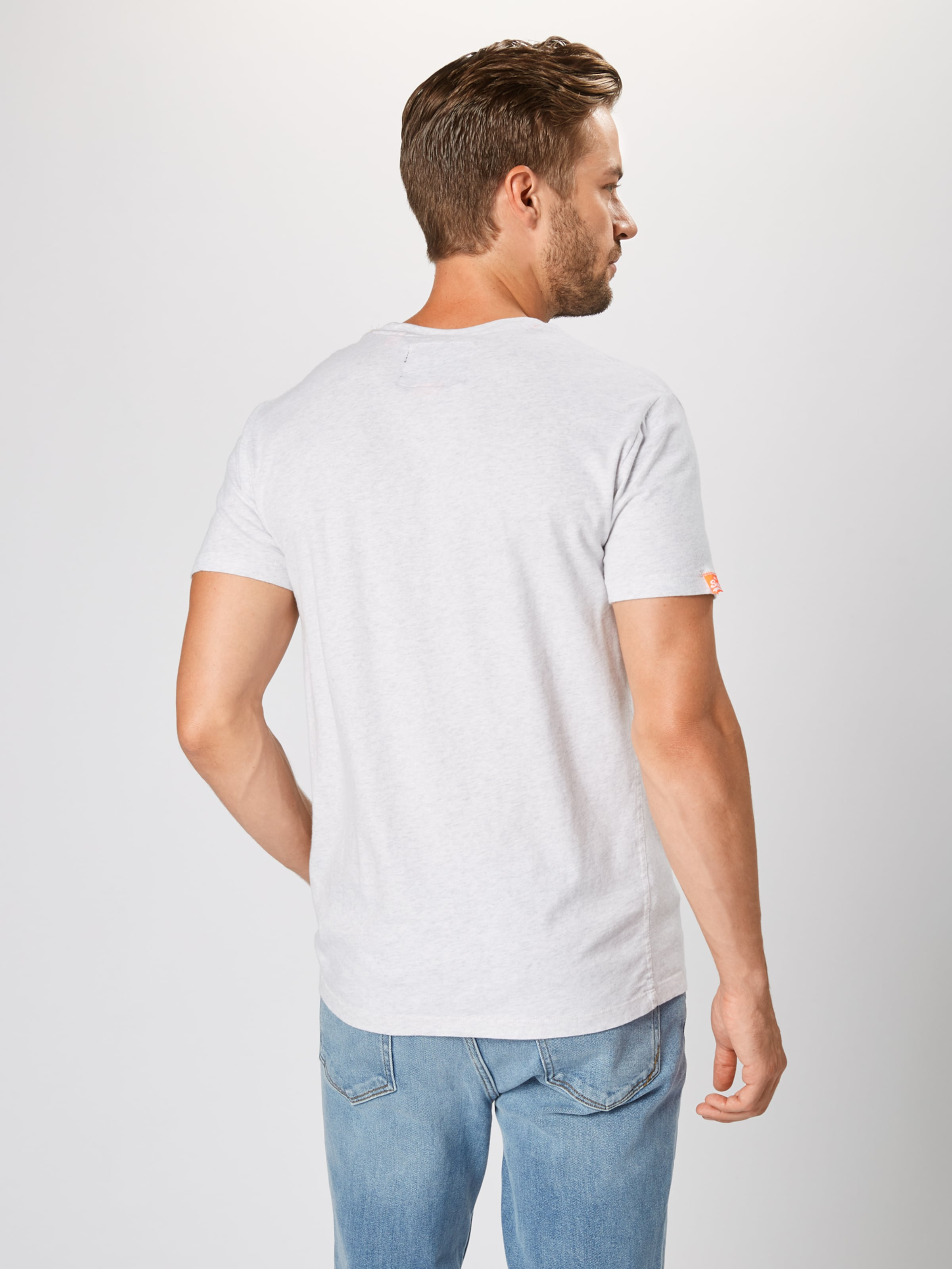 Tee' Vintage Label Gris Superdry Clair T 'orange Embroidery En shirt lKTFJuc31