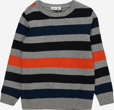 NAME IT Pullover 'NUCE' in navy / graumeliert / orange / schwarz, Produktansicht