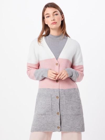 TOM TAILOR DENIM Strickjacke in graumeliert / rosa / weiß, Modelansicht