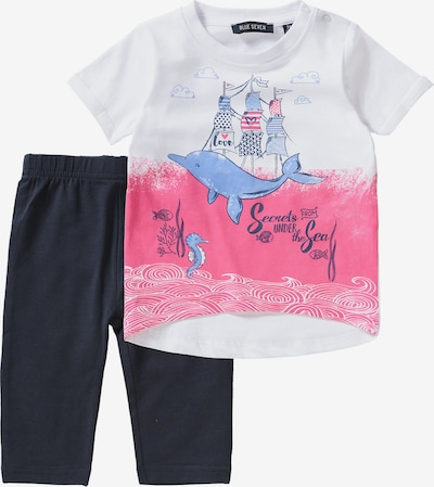 BLUE SEVEN Set T-Shirt + Caprileggings in pink / schwarz / weiß, Produktansicht