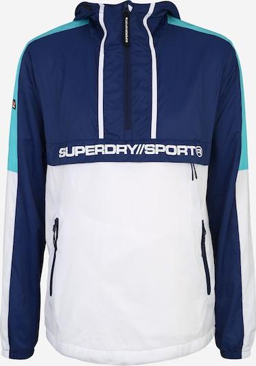 Sportinė striukė iš Superdry , spalva - vandens spalva / tamsiai mėlyna / balta, Prekių apžvalga