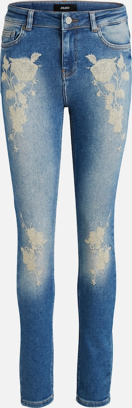 OBJECT Stickerei-Detail-Skinny Fit Jeans 'OBJSKINNY SARAH'