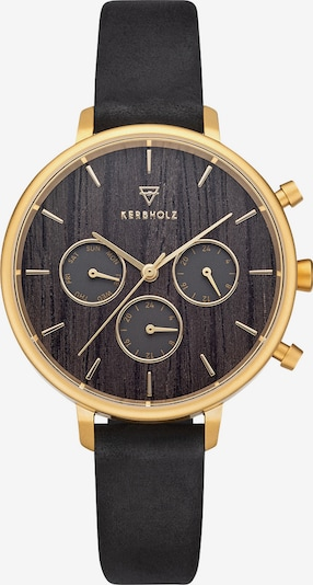 Kerbholz Uhr in gold / schwarz, Produktansicht