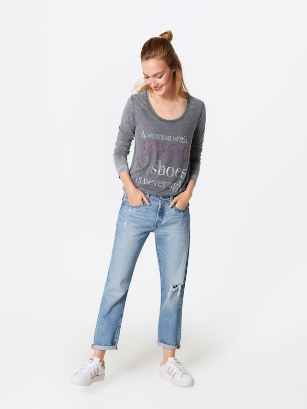 Grijs Shirt 'good In Shoes'' 'longsleeve Miss Goodlife SpzMqUV