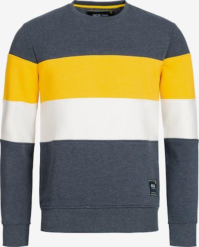 INDICODE JEANS Sweatshirt 'Gavel' in de kleur Blauw gemêleerd / Geel / Wit, Productweergave