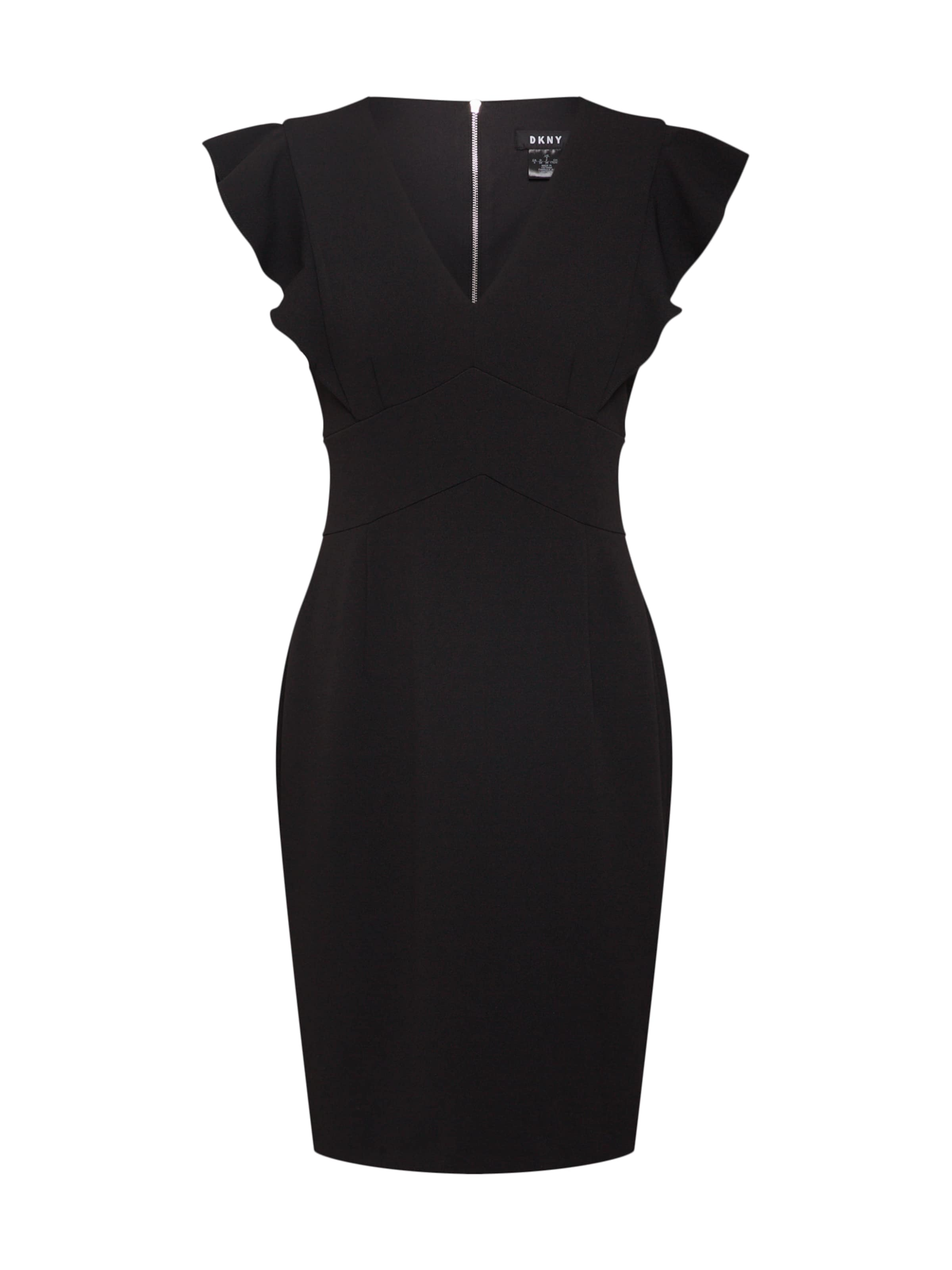 Ruffle Cap Sheath' neck Dkny Kleid In Sleeve 'v Schwarz LMSzjqUpVG
