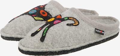 HAFLINGER Pantoffeln 'Sassy' in hellgrau / dunkelorange / schwarz, Produktansicht