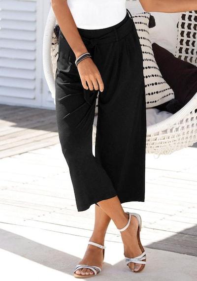 LASCANA Kalhoty se sklady v pase - černá, Model/ka