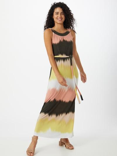 s.Oliver BLACK LABEL Kleid in dunkelbraun / hellgelb / puder / weiß, Modelansicht