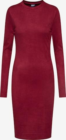 Urban Classics Jurk 'Ladies Peached Rib Dress LS' in Rood