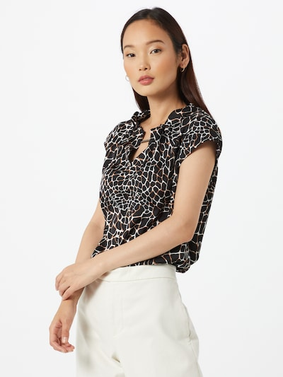 COMMA Bluza | rjava / črna / bela barva, Prikaz modela