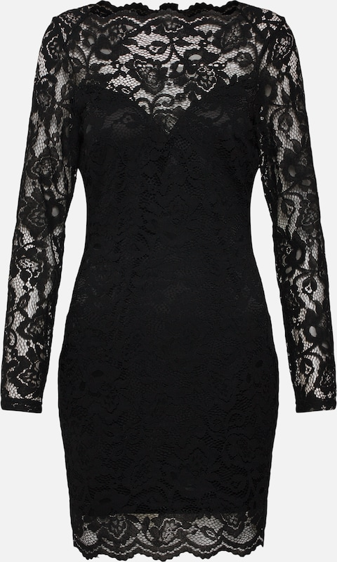 Robe Missguided Neck Noir Long Lace En Mini' 'scallop Sleeve QBsrCxtdh