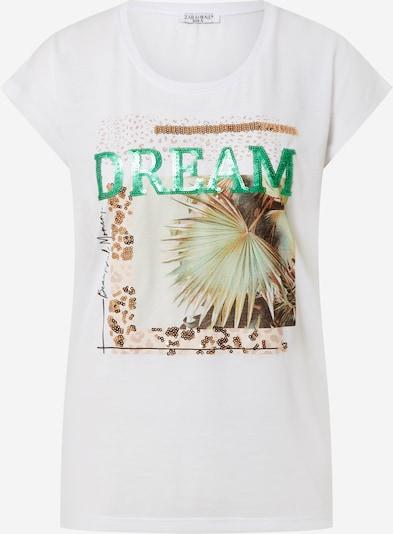 ZABAIONE Shirt 'Ava' in beige / grün / weiß, Produktansicht