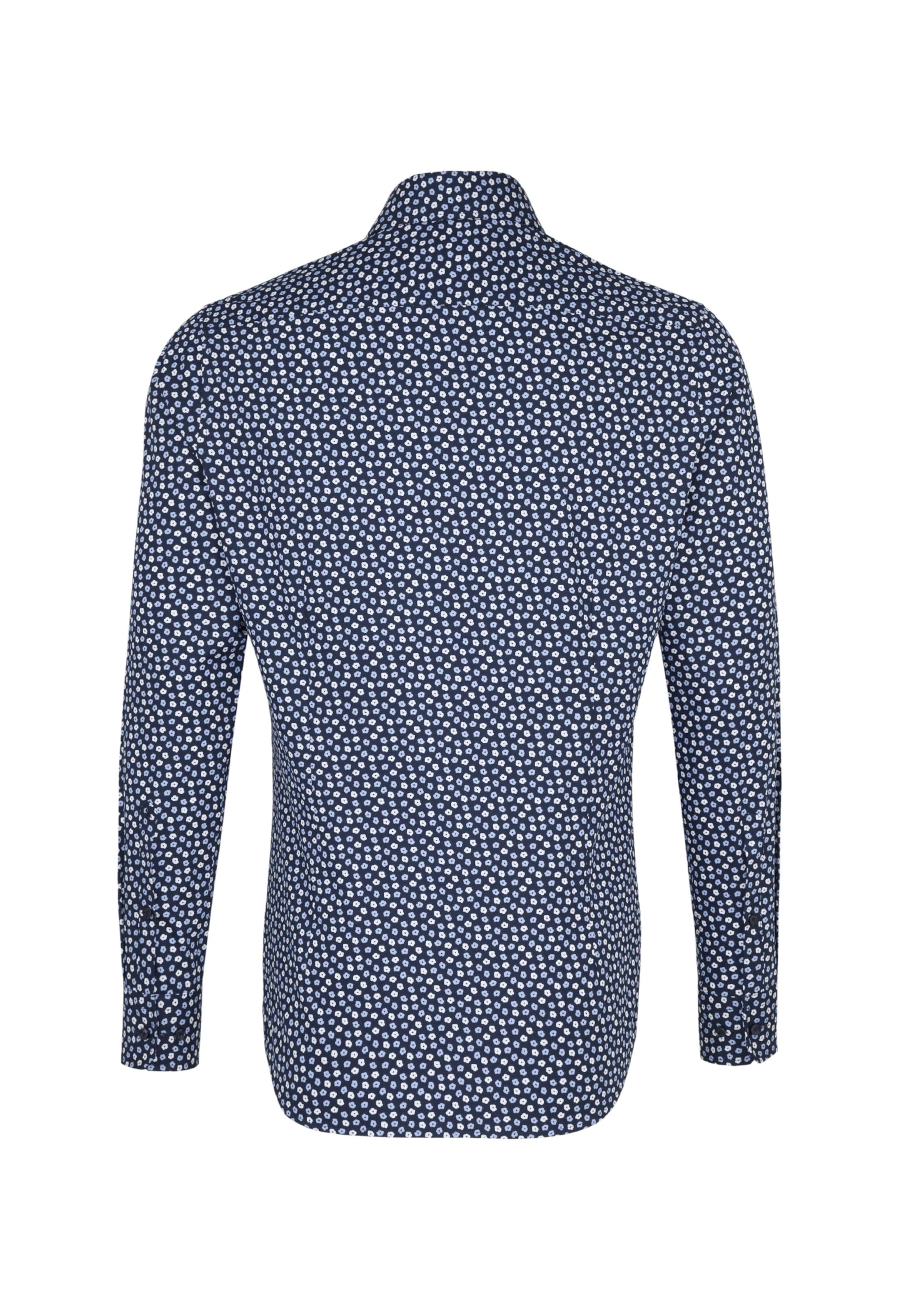 Wit BlueNachtblauw Smoky Overhemd Seidensticker In lJKF1c