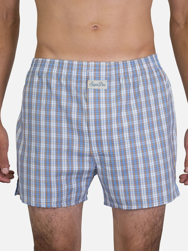 Sugar Pine Boxershorts ' Classic Check ' in hellblau: Frontalansicht