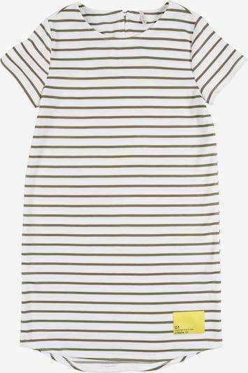 KIDS ONLY Jurk 'KONKIMI S/S PATCH DRESS JRS' in de kleur Crème / Olijfgroen, Productweergave