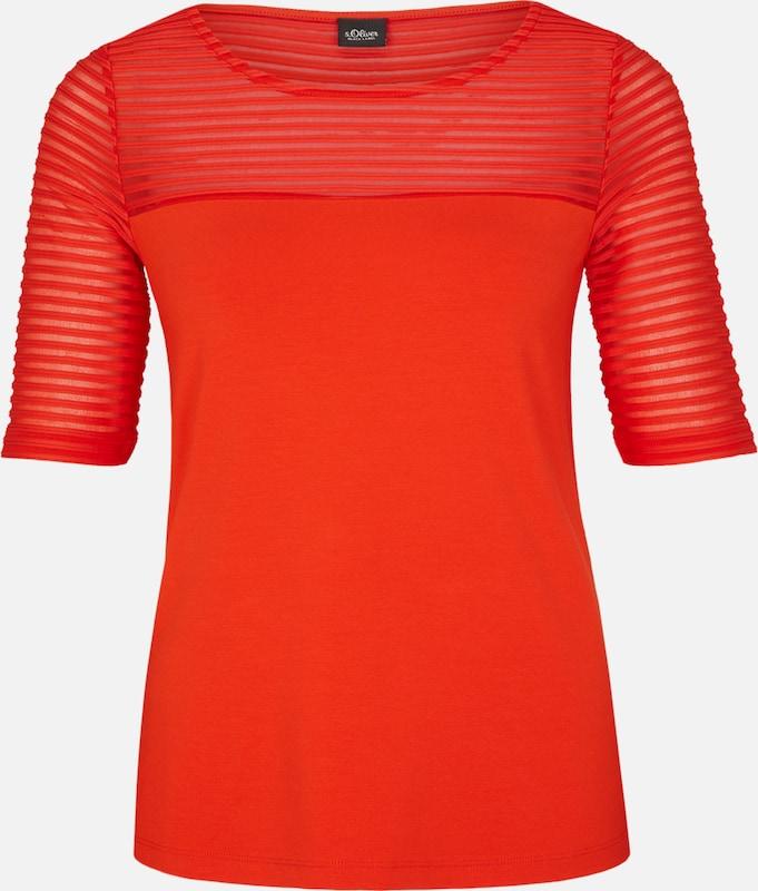 S.Oliver schwarz LABEL T-Shirt mit Transparenz-Effekt in rot  Freizeit, schlank, schlank
