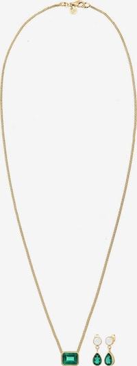 ELLI PREMIUM Sieraden set in de kleur Goud / Groen / Wit: Vooraanzicht