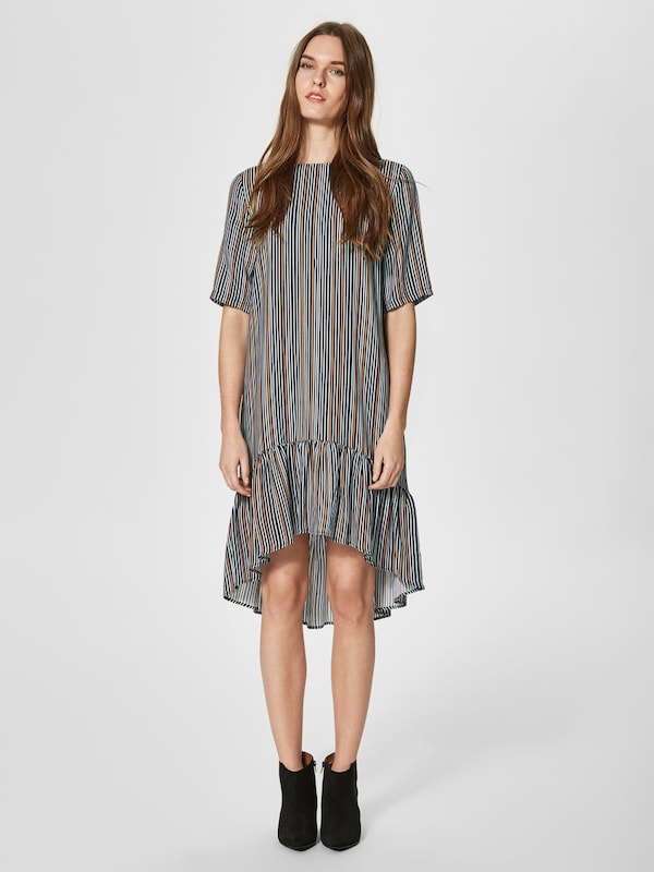 SELECTED FEMME Gestreiftes Kleid mit kurzen Ärmeln