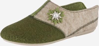 FLY FLOT Pantoffeln in beige / grün / oliv, Produktansicht