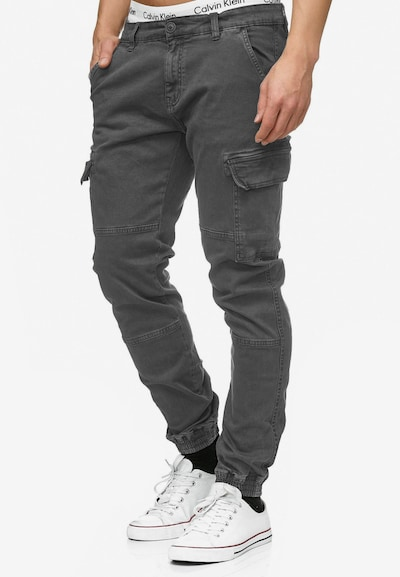 INDICODE JEANS Cargohose 'August' in grey denim, Modelansicht