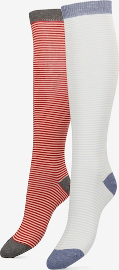 Libertad Socke Long Stripe im Doppelpack in hellblau / hellgelb / rot, Produktansicht