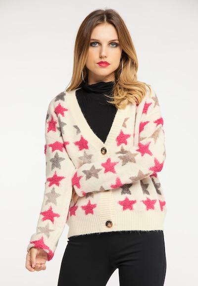 faina Strickjacke in grau / pink / naturweiß, Modelansicht
