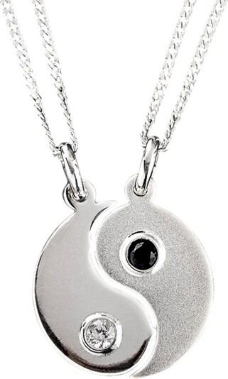 FIRETTI Partnerschmuck bestehend aus 2 Halsketten und Anhängern 'Ying Yang' (Set 4tlg.) in silber, Produktansicht