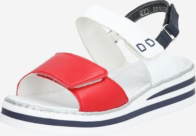 RIEKER Sandales à lanières en rouge / blanc, Vue avec produit