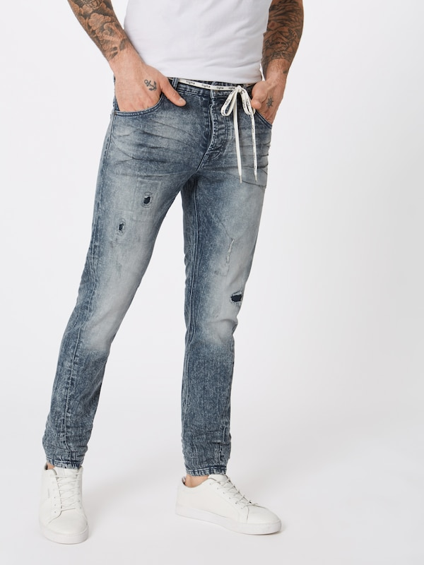 tigha Jeans 'Billy the kid 9943 patched' in blue denim: Frontalansicht