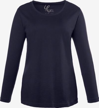 Ulla Popken Shirt  'Basic Langarmshirt Rundhals' in blau, Produktansicht