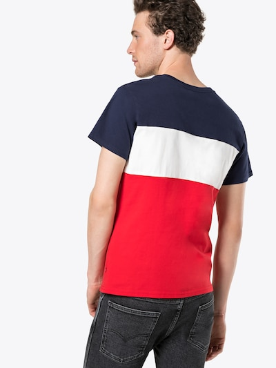 LEVI'S T-Shirt 'COLORBLOCKTEE' in blau / rot / weiß: Rückansicht