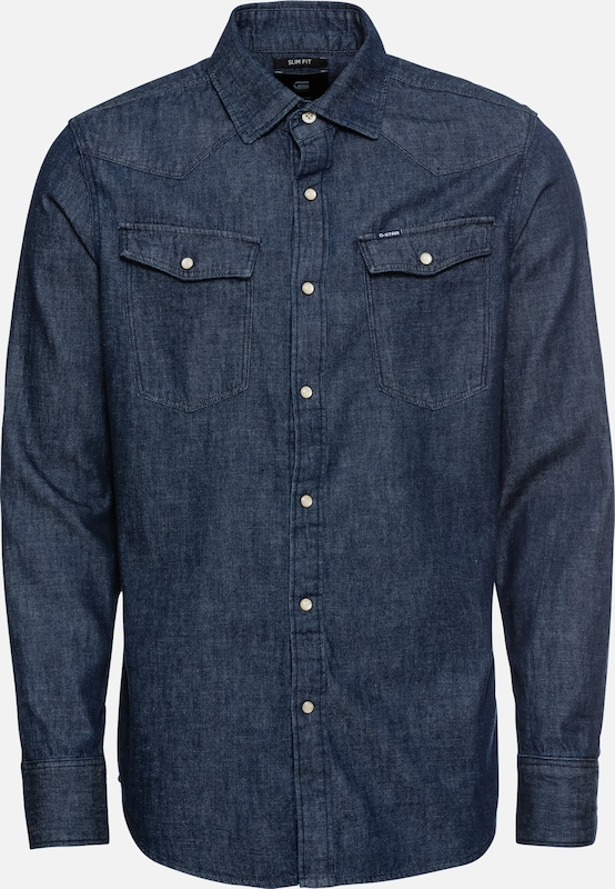 Raw Denim Slim En '3301 L star Chemise G Shirt s' Bleu Qshrtd