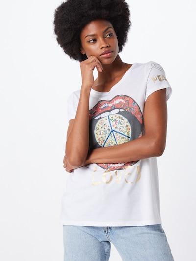 Frogbox Koszulka 'Peace Glitzer' w kolorze mieszane kolory / białym: Widok z przodu
