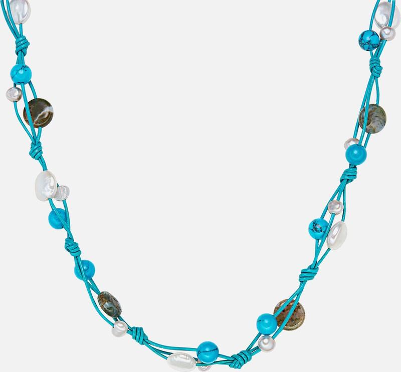 Perles De Valero Véritable Collier En Cuir Avec Perle Deau Douce Et Agate De Mousse