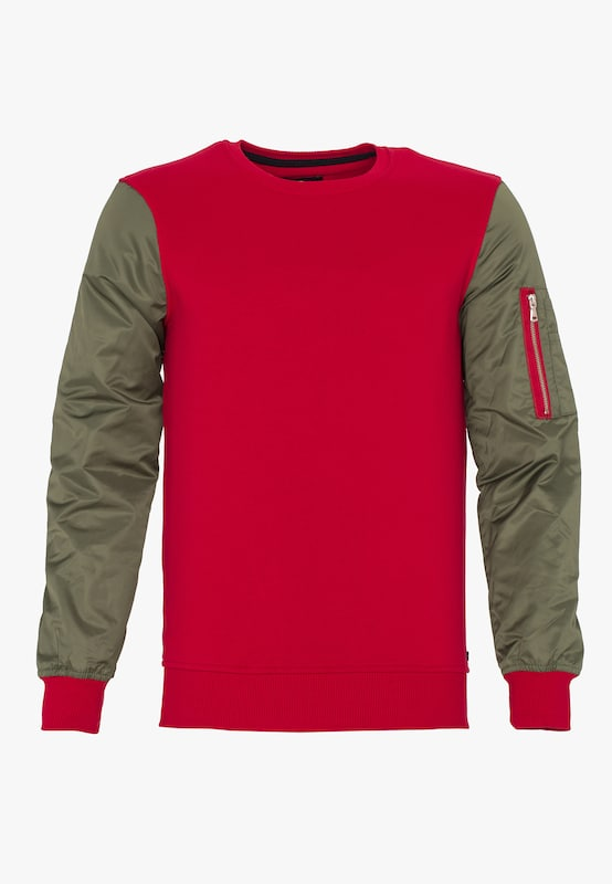 PLUS EIGHTEEN Sweatshirt in khaki / rot: Frontalansicht