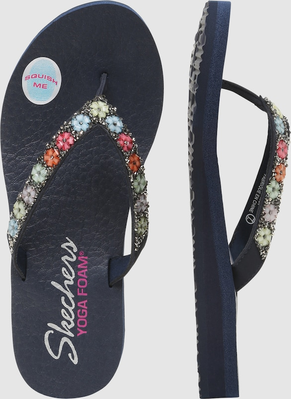 SKECHERS Zehentrenner 'Flower And Rhinestone Thong Yoga'