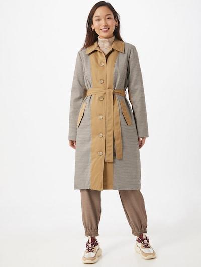 ICHI Mantel 'Felicia' in beige / schwarz / weiß, Modelansicht