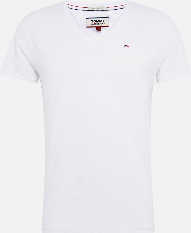 Tommy Jeans Shirt 'TJM ORIGINAL JERSEY V NECK TEE' in de kleur Wit, Productweergave
