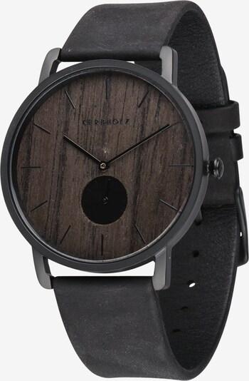 Kerbholz Armbanduhr 'Fritz' in braun / schwarz, Produktansicht