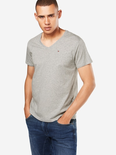Tommy Jeans T-Shirt 'TJM ORIGINAL JERSEY V NECK TEE' in grau: Frontalansicht