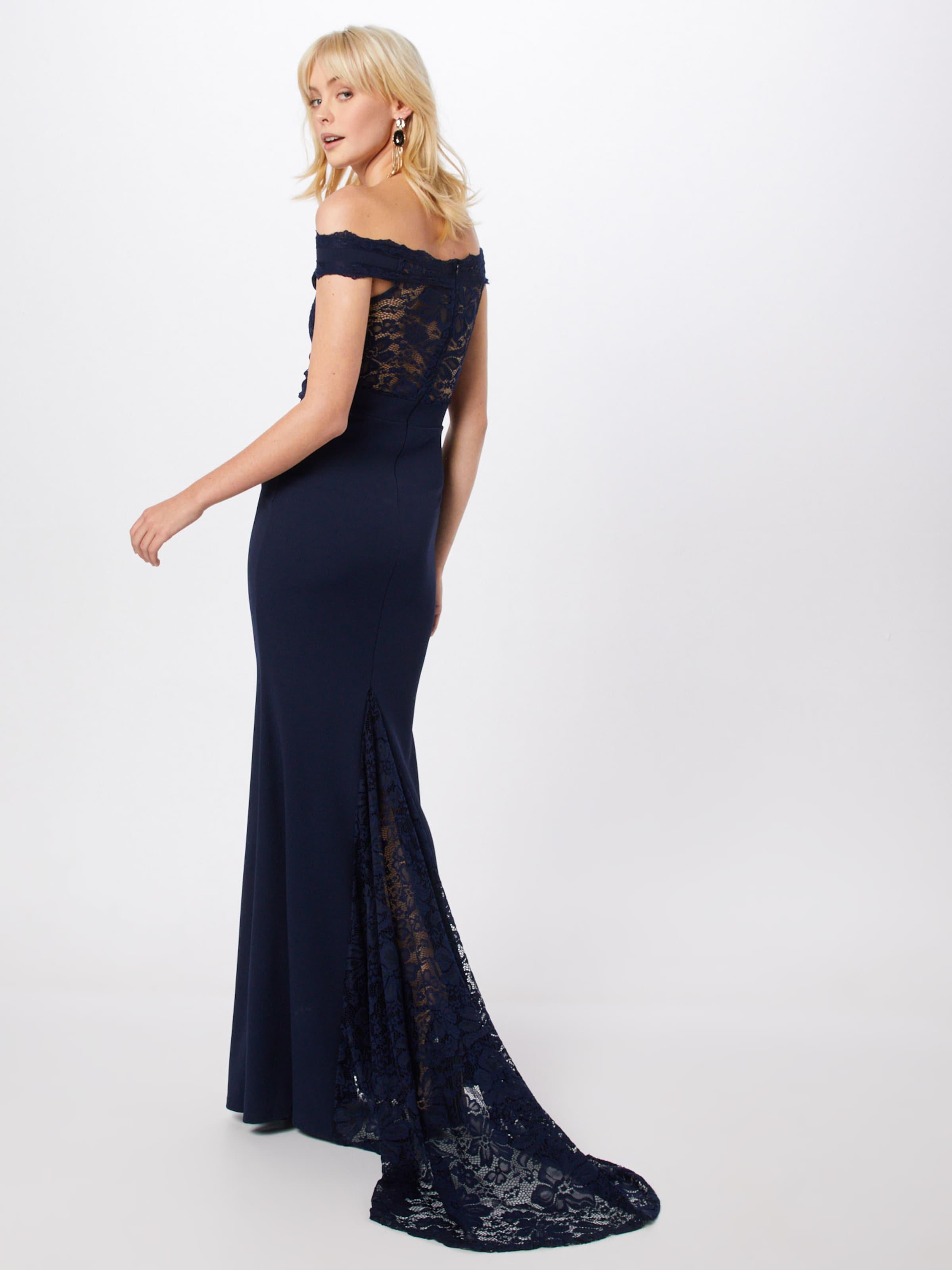Missguided Bleu De Soirée Maxi' Bardot En Lace Fishtail Marine Robe 'bridesmaid 0Nw8nm