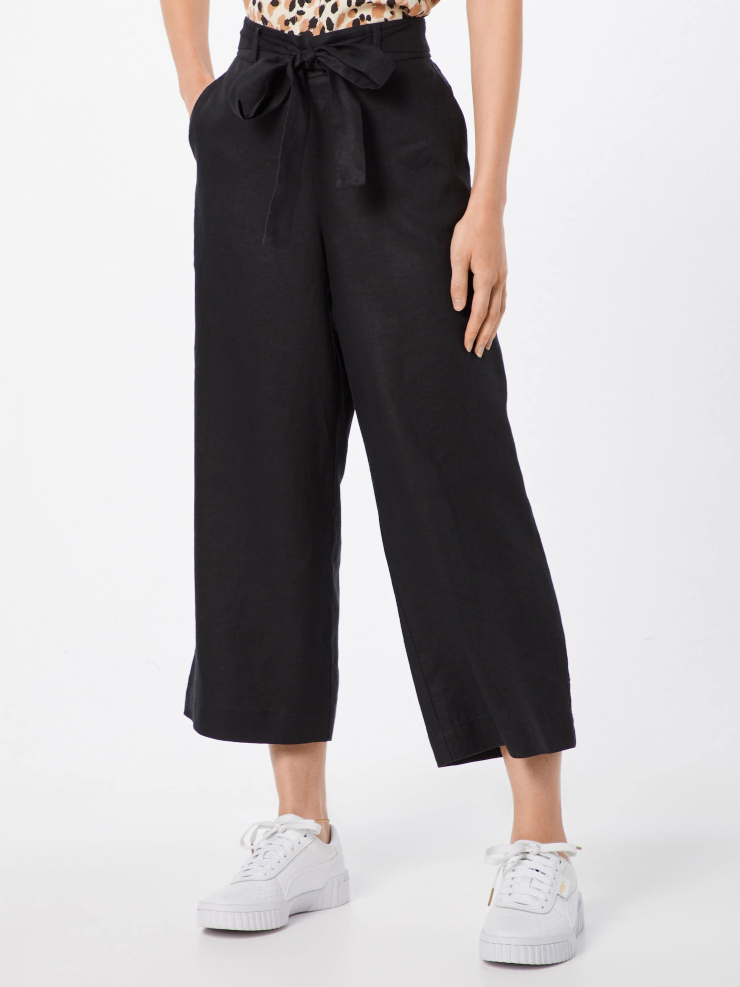Crop On Hose 'pull Dkny Linen Pant' In Schwarz 2WH9DIEY